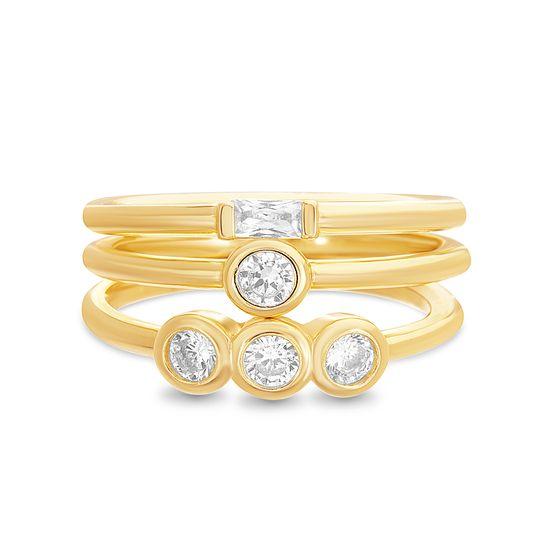 Imagen de Sterling Silver 3pc Bezel Cubic Zirconia Ring Set Size 8
