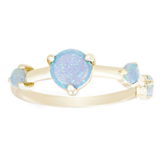 Imagen de Sterling Silver Blue Opal Ring Size 7