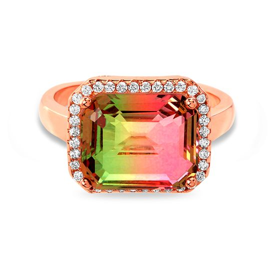 Imagen de Sterling Silver Multi-Color Cubic Zirconia Rounded Rectangle Center Ring Size 7