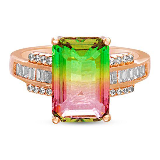 Imagen de Sterling Silver Multi-Color Cubic Zirconia Emerald Cut Center  Baguette Band Ring Size 8