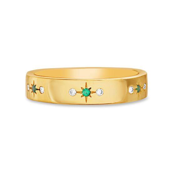 Imagen de Sterling Silver Cubic Zirconia Green Starburst Design Band Ring Size 8