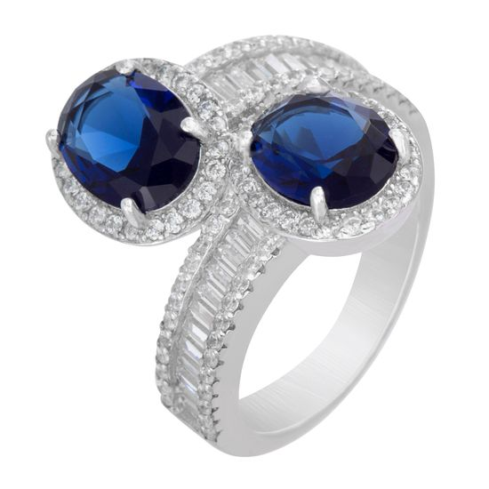 Imagen de Oval Blue & Clear Genuine Cubic Zirconia Bypass Ring in Sterling Silver