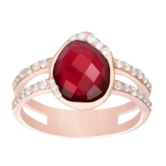 Imagen de Rose Gold Plated Sterling Silver Ruby Red Faceted Center  & Clear Cubic Zirconia Sides Double Strand Ring
