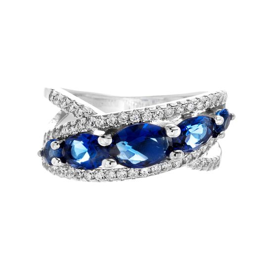 Imagen de Oval Blue & Clear Genuine Cubic Zirconia Crossover Design Open Work Ring in Sterling Silver