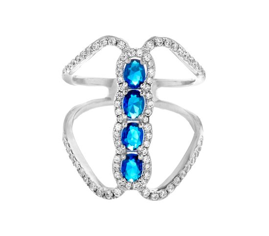 Picture of Oval Blue & Clear Genuine Cubic Zirconia Bar Open Work Ring in Sterling Silver
