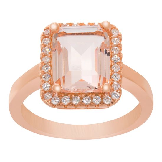 Imagen de Pink/Clear Cubic Zirconia Baguette Halo Ring in Rose Gold over Sterling Silver