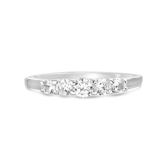 Imagen de E-Coat Sterling Silver Cubic Zirconia Engagement Ring Size 9