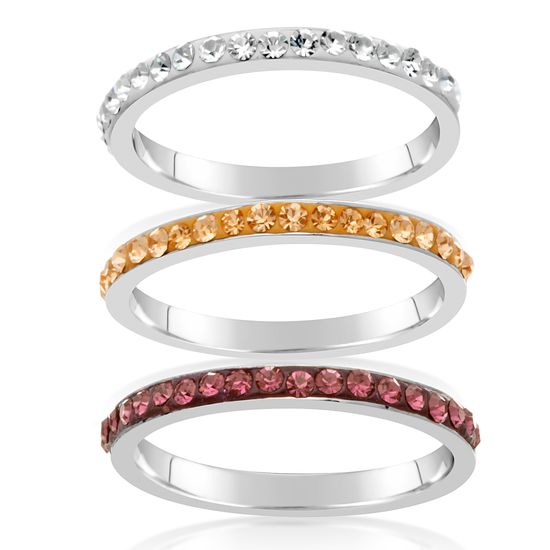 Imagen de Silver-Tone Brass Multi Colored Crystal Band 3pc Ring Size 8
