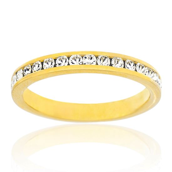 Imagen de Gold-Tone Brass Cubic Zirconia Band Ring Size 9