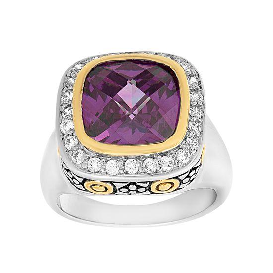 Imagen de & Rhodium Plated Brass Center Amethyst & Cubic Zirconia Border Squared Design Ring
