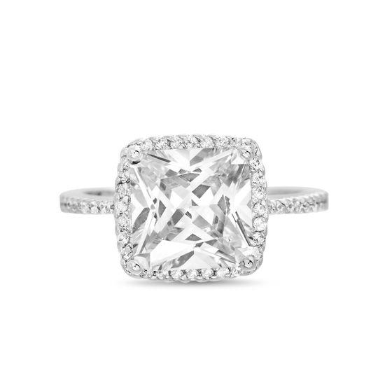Imagen de Brass Split Shank Square Cubic Zirconia Halo Solitaire Ring