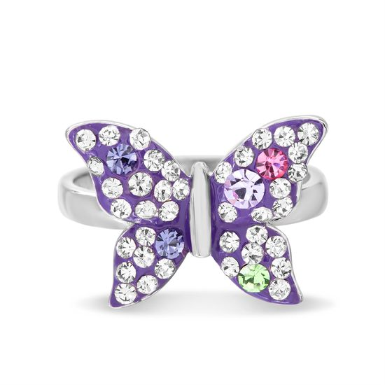 Picture of Brass Pink Purple Green & Clear Crystal Purple Clay Butterfly Ring