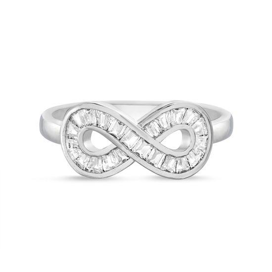 Imagen de Silver-Tone Brass Baguette CZ Infinity Symbol Ring Size 6