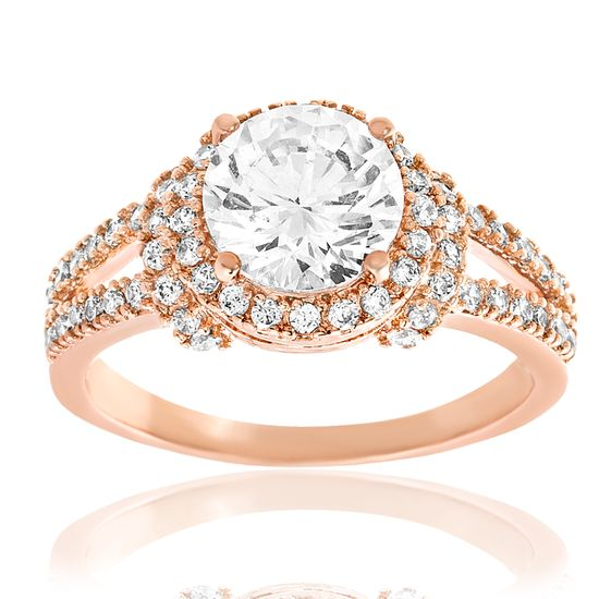 Picture of Rose-Tone Brass Round CZ Border Ring Size 8