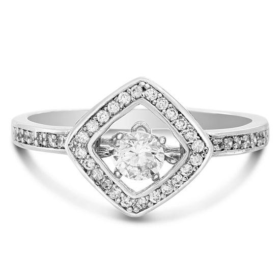 Imagen de Rhodium Plated Brass Diamond Shape Basket Cubic Zirconia Heartbeat Ring