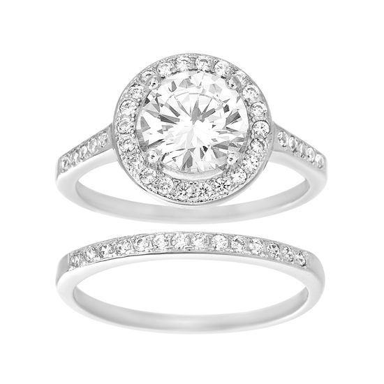 Imagen de Silver Tone Brass Cubic Zirconia Bezel Stone With A Halo Engagement Ring Set Size 8