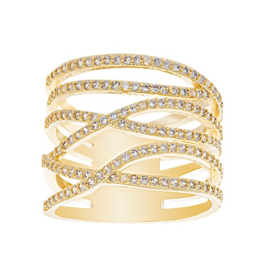 Imagen de Cubic Zirconia Wide Criss Cross Ring in Gold over Brass