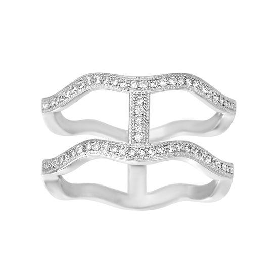 Imagen de Silver-Tone Brass Cubic Zirconia Double Wavy Band Ring Size 8