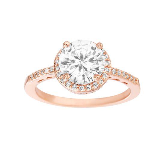Imagen de Brass Halo Cubic Zirconia Ring