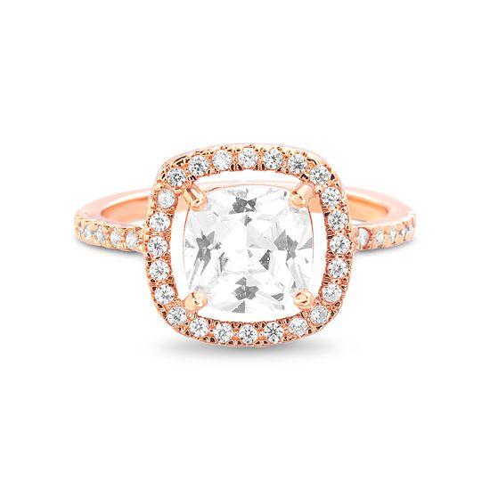 Imagen de Brass Halo Asscher Cut Cubic Zirconia Squared Ring