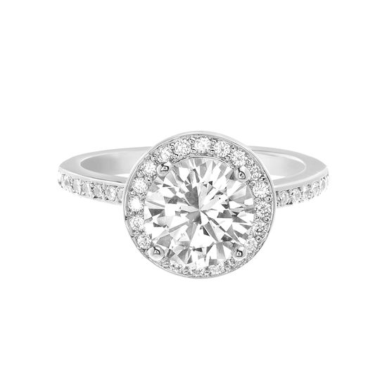 Imagen de Round Solitaire Cubic Zirconia Engagement Ring with Halo in Rhodium over Brass  Size 6