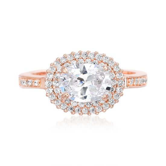 Imagen de Rose-Tone Brass Oval Halo/Double Row Cubic Zirconia Engagement Ring Size 6