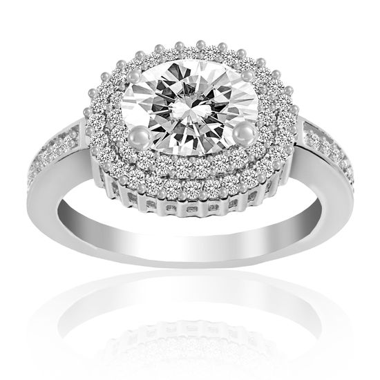 Imagen de Silver-Tone Brass Oval Halo/Double Row Cubic Zirconia Engagement Ring Size 8