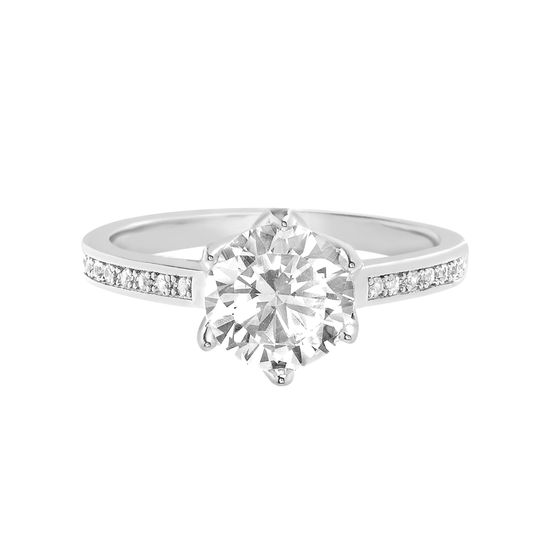 Imagen de Round Cut Solitaire Cubic Zirconia Engagement Ring with 6 prongs in Rhodium over Brass  Size 6