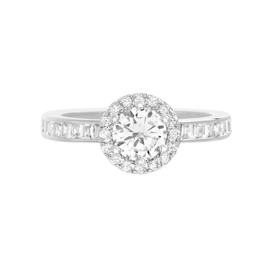 Picture of Round Solitaire Cubic Zirconia Engagement Ring with Halo in Rhodium over Brass  Size 6