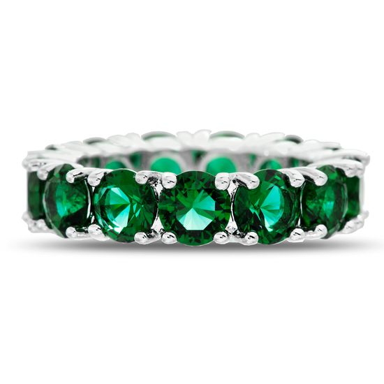 Imagen de Round Simulated Emerald Eternity Band Ring in Rhodium over Brass size 6