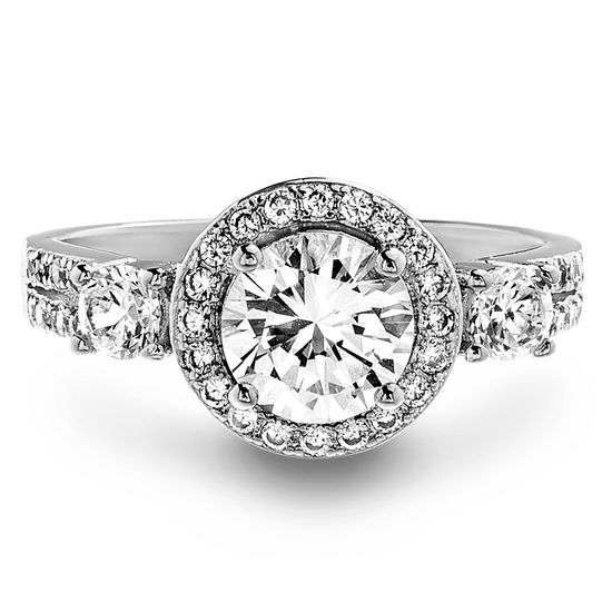 Imagen de Round Halo Three Stone Cubic Zirconia Engagement Ring in Rhodium over Brass Size 6