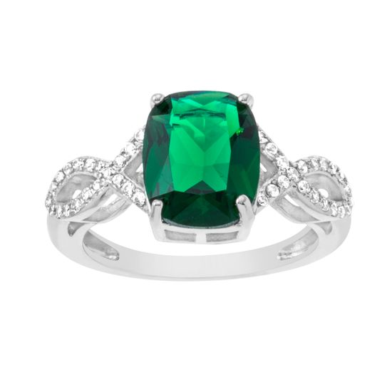Imagen de BRASS RHODIUM EMERALD BAGUETTE CENTER OPEN DESIGN RING