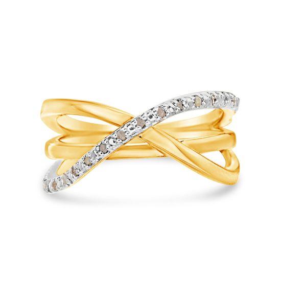 Imagen de Two-Tone BrassCubic Zirconia  X Design Ring Size 7