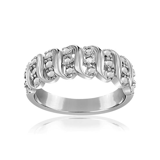 Picture of Diamond Accent Wavy Design Ring In Rhodium over Brass Size 6