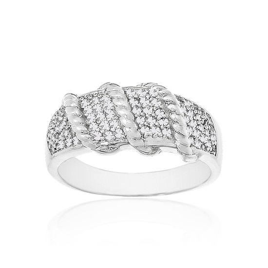 Imagen de Silver Tone Brass Cubic Zirconia Ribbed Ring Size 7