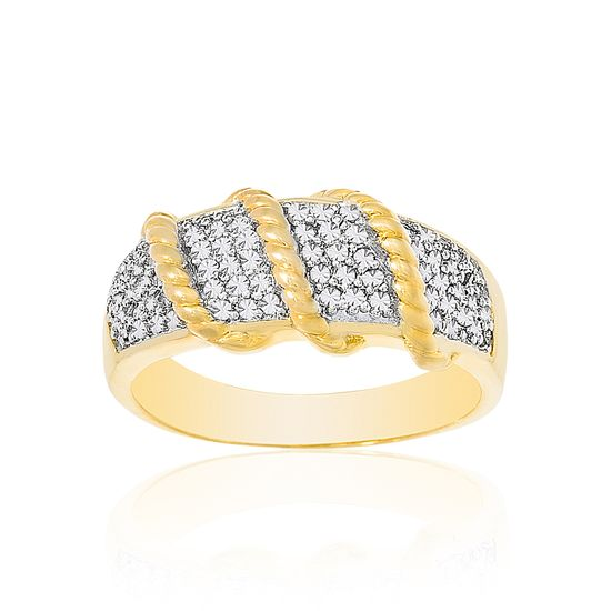 Imagen de Two Tone Brass Cubic Zirconia Ribbed Ring Size 7