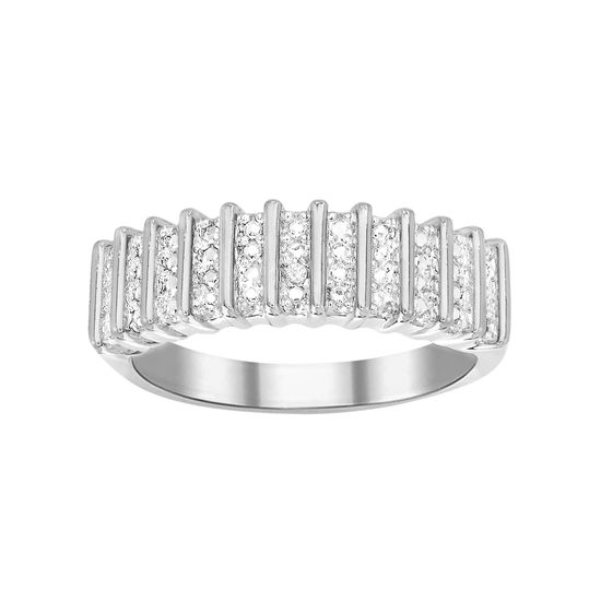 Imagen de Diamond Accent Ribbed Pattern Band Ring in Rhodium over Brass Size 6