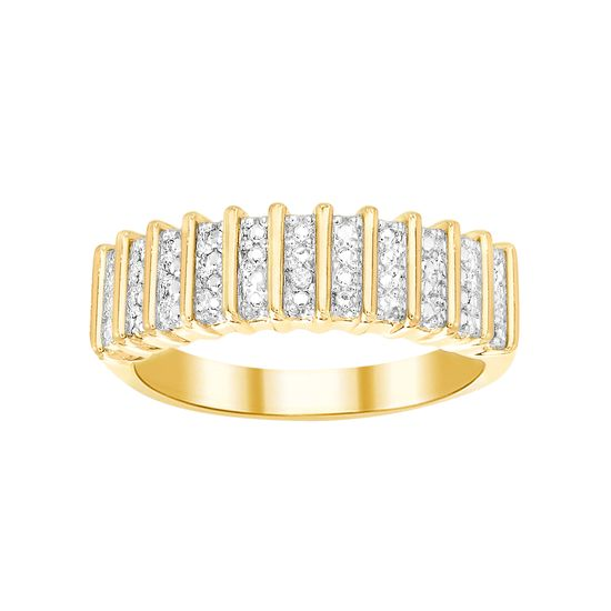 Imagen de Diamond Accent Ribbed Pattern Band Ring in Yellow Gold over Brass Size 6