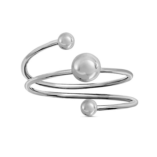 Imagen de Rhodium Plated Brass Triple Ball Wrap Around Ring