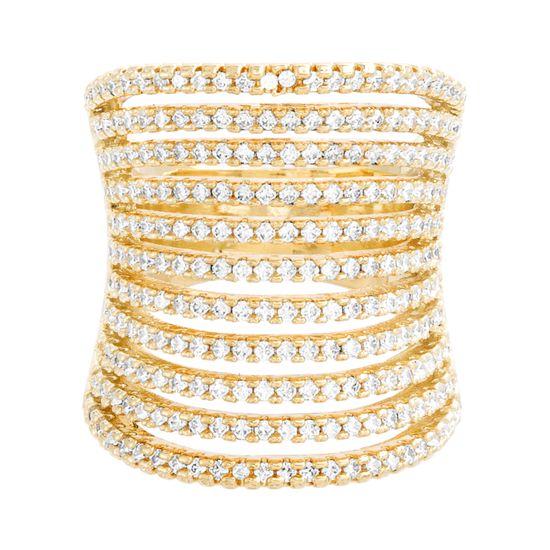 Imagen de Gold-Tone Brass 11 Row Cubic Zirconia Concave Ring Size 7