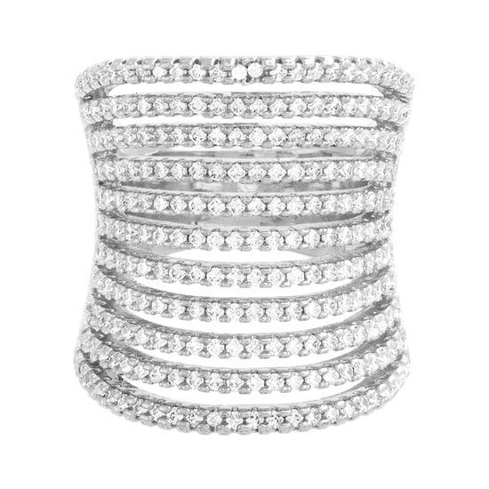 Imagen de Silver-Tone Brass 11 Row Cubic Zirconia Concave Ring Size 7