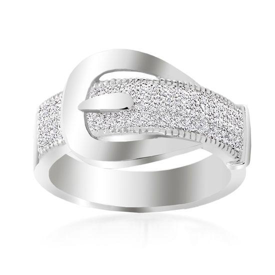 Imagen de Silver Tone Brass Cubic Zirconia Belt Buckle Design Band Ring Size 6