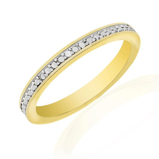 Imagen de Diamond Accent Wedding Band Ring in Yellow Gold over Brass Size 9