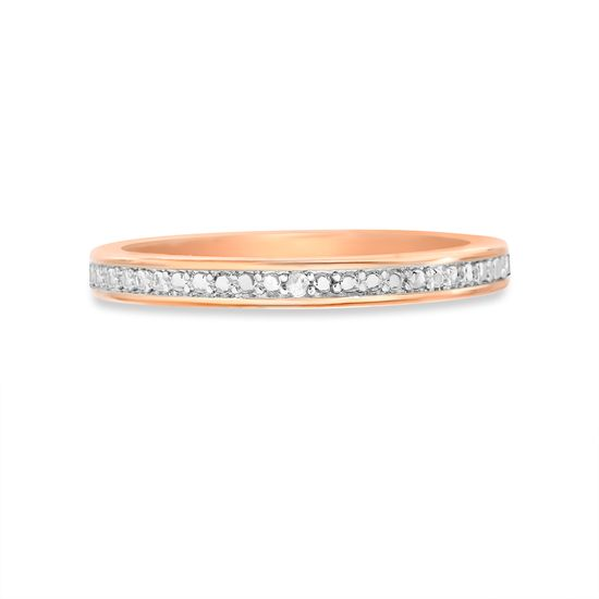 Imagen de Diamond Accent Wedding Band Ring in Rose Gold over Brass Size 8
