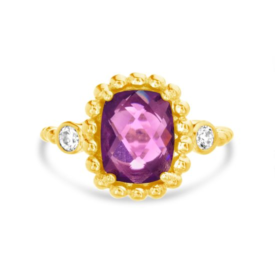 Imagen de Gold-Tone Brass Round Clear and Square Purple Cubic Zirconia Multi-Ball Border Ring Size 8