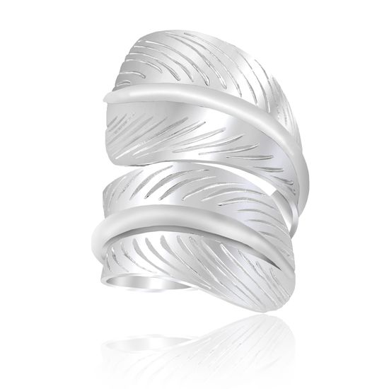 Imagen de Silver-Tone Brass Textured Wrap Around Feather Design Bypass Ring Size 9