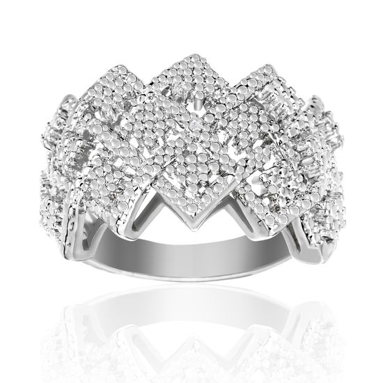 Imagen de Diamond Accent Zigzag Band Ring in Rhodium over Brass Size 6