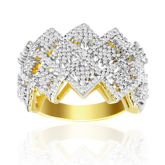 Imagen de Diamond Accent Zigzag Band Ring in Yellow Gold over Brass Size 8