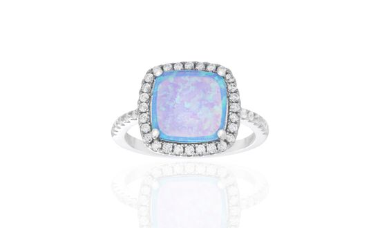 Imagen de Lab Created Blue Opal and Cubic Zirconia Cushion Halo Ring