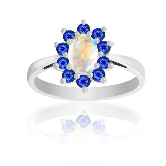 Imagen de Silver-Tone Brass Oval Opal Center Blue Cubic Zirconia Border Floral Design Ring Size 7